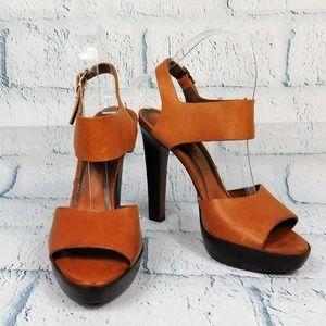 Marni Brown Leather Peeptoe High Heel Shoes